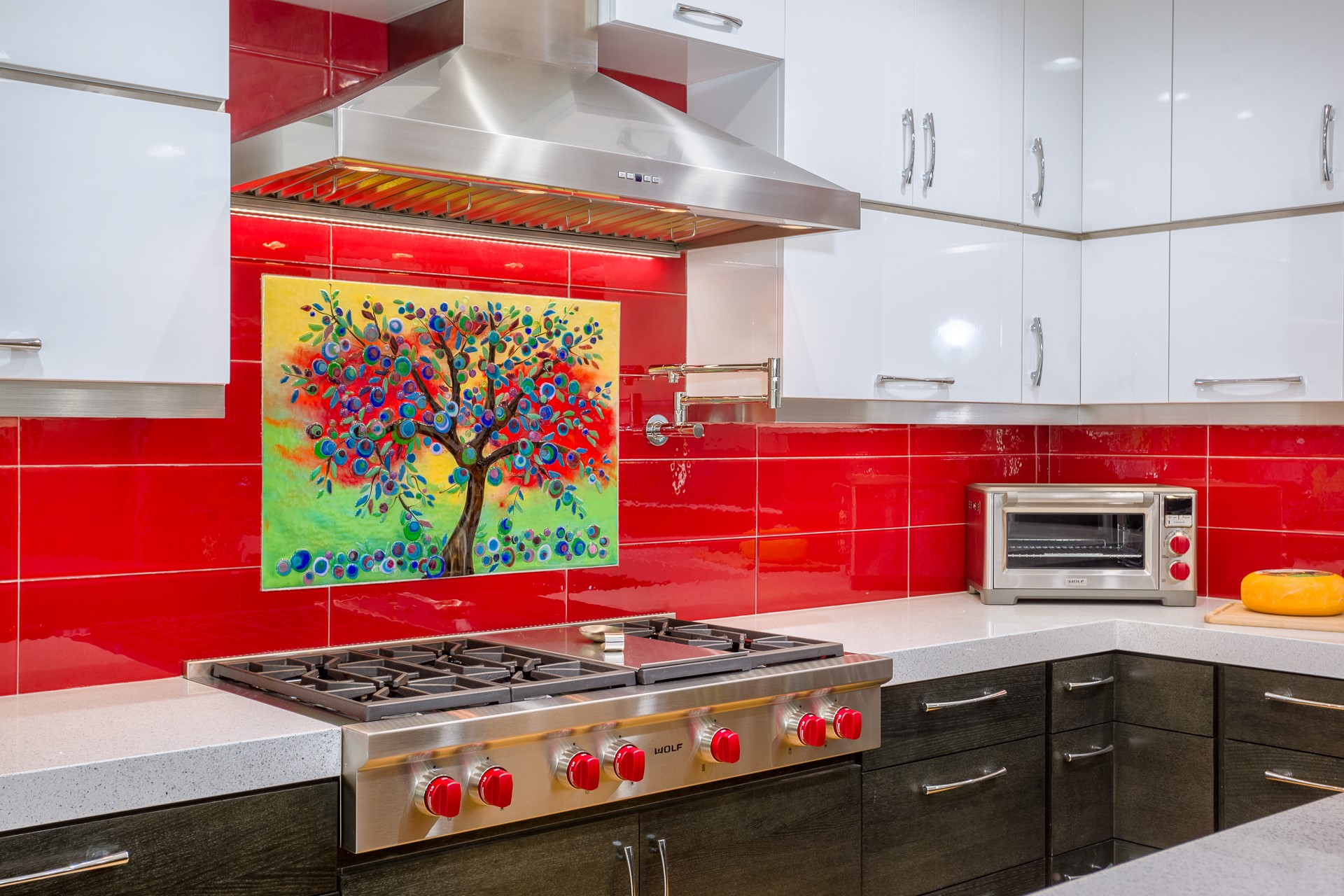 Red Tree Artwork Backsplash
