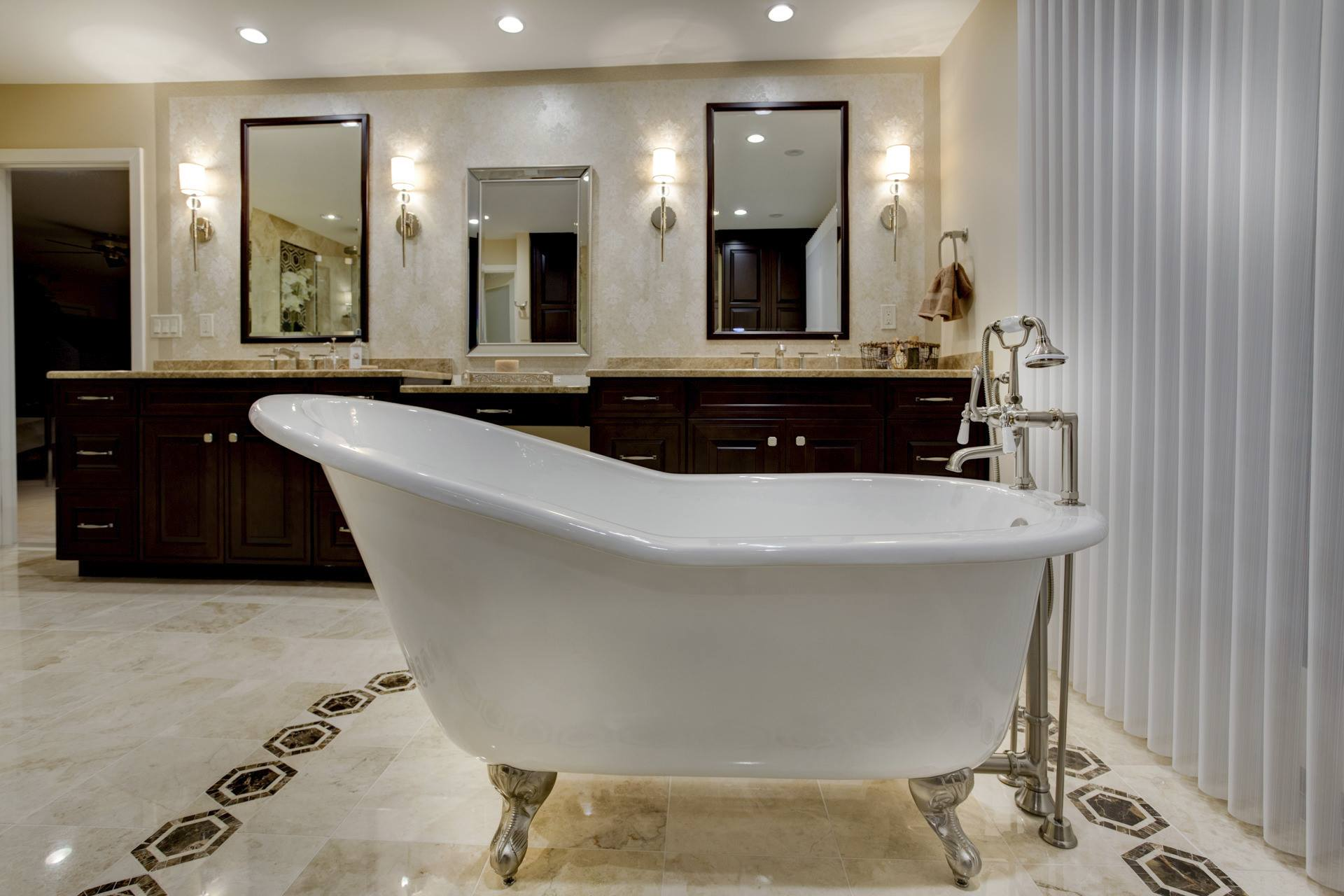 refined bathroom with classic clawfoot tub
