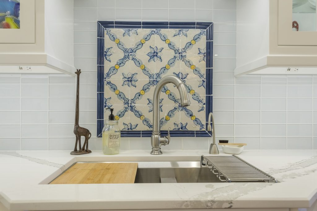 Blue and pale yellow on white, kitchen backsplash tile
